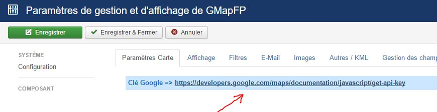 lien vers creation cle Google